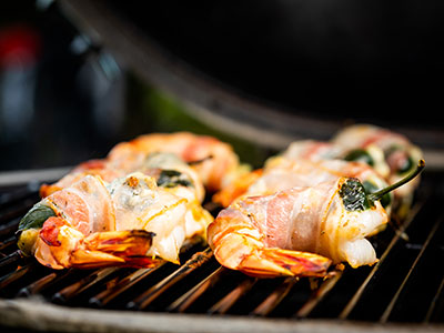Bacon wrapped Fire Cracked Shrimps